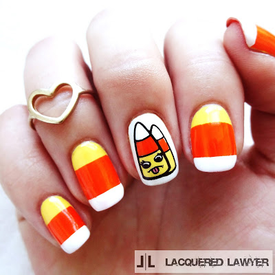 Candy corn halloween manicure