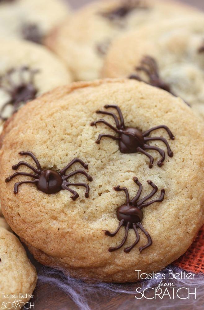 Chocolate chip spider cookies halloween treats