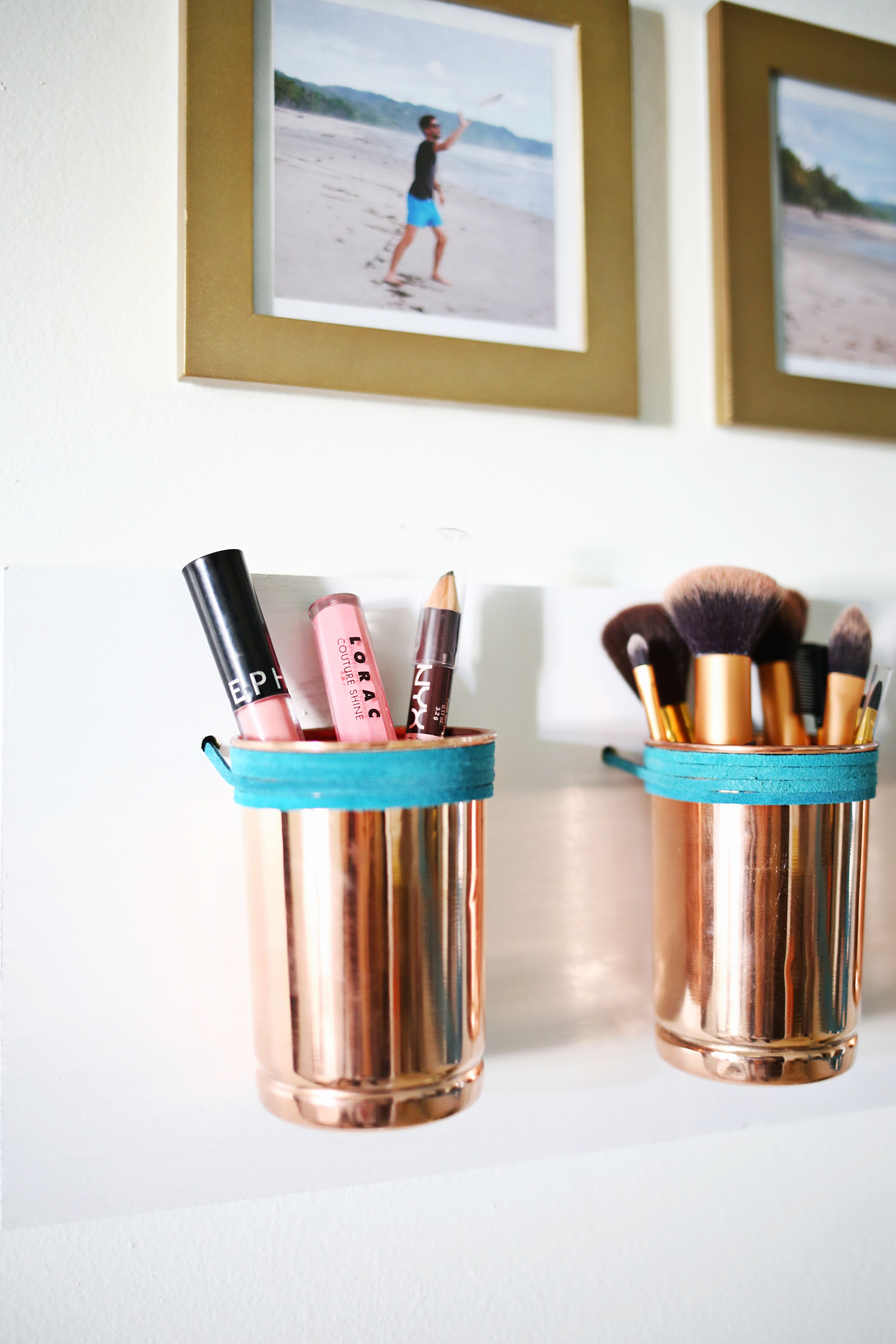 Copper cup diy makeup storage