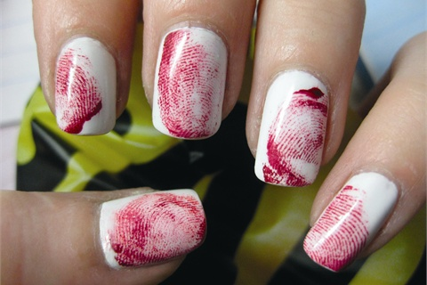 Crimi nails bloody finger print nails