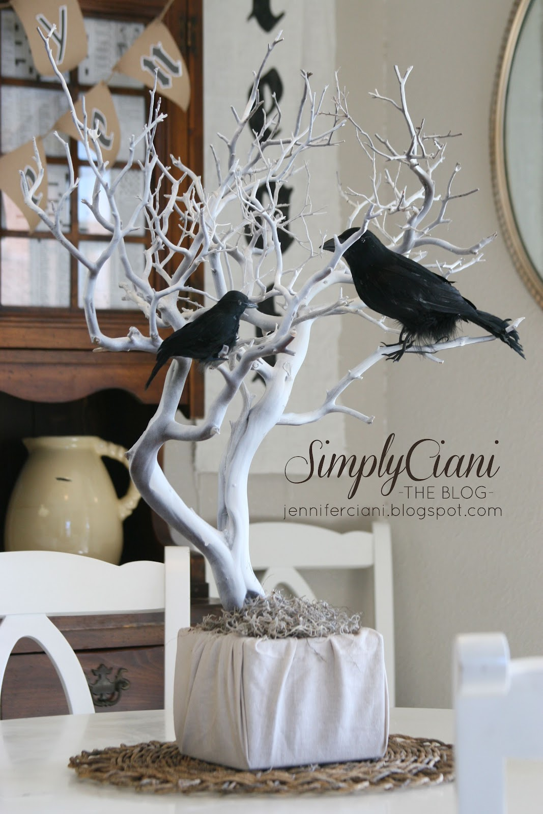 Crow centerpiece halloween decor