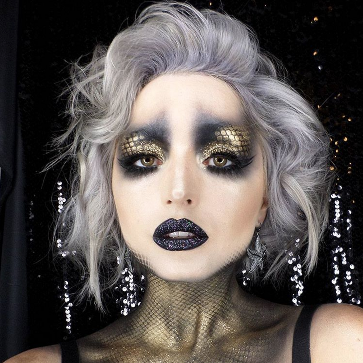 Dark mermaid halloween makeup