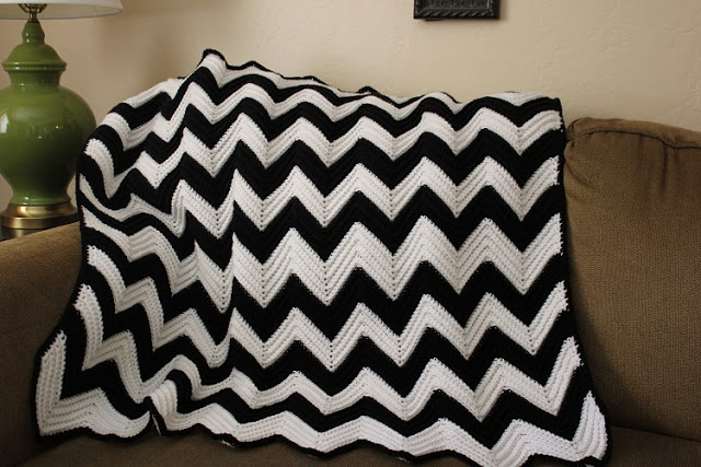 Diy chevron crochet baby blanket