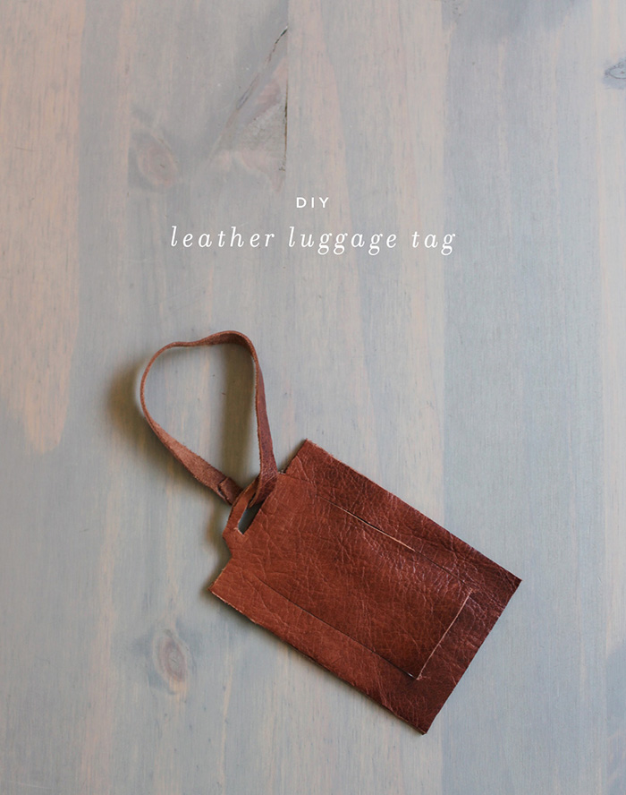 Diy leather luggage tag