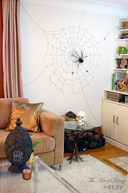 Diy spiderweb wall
