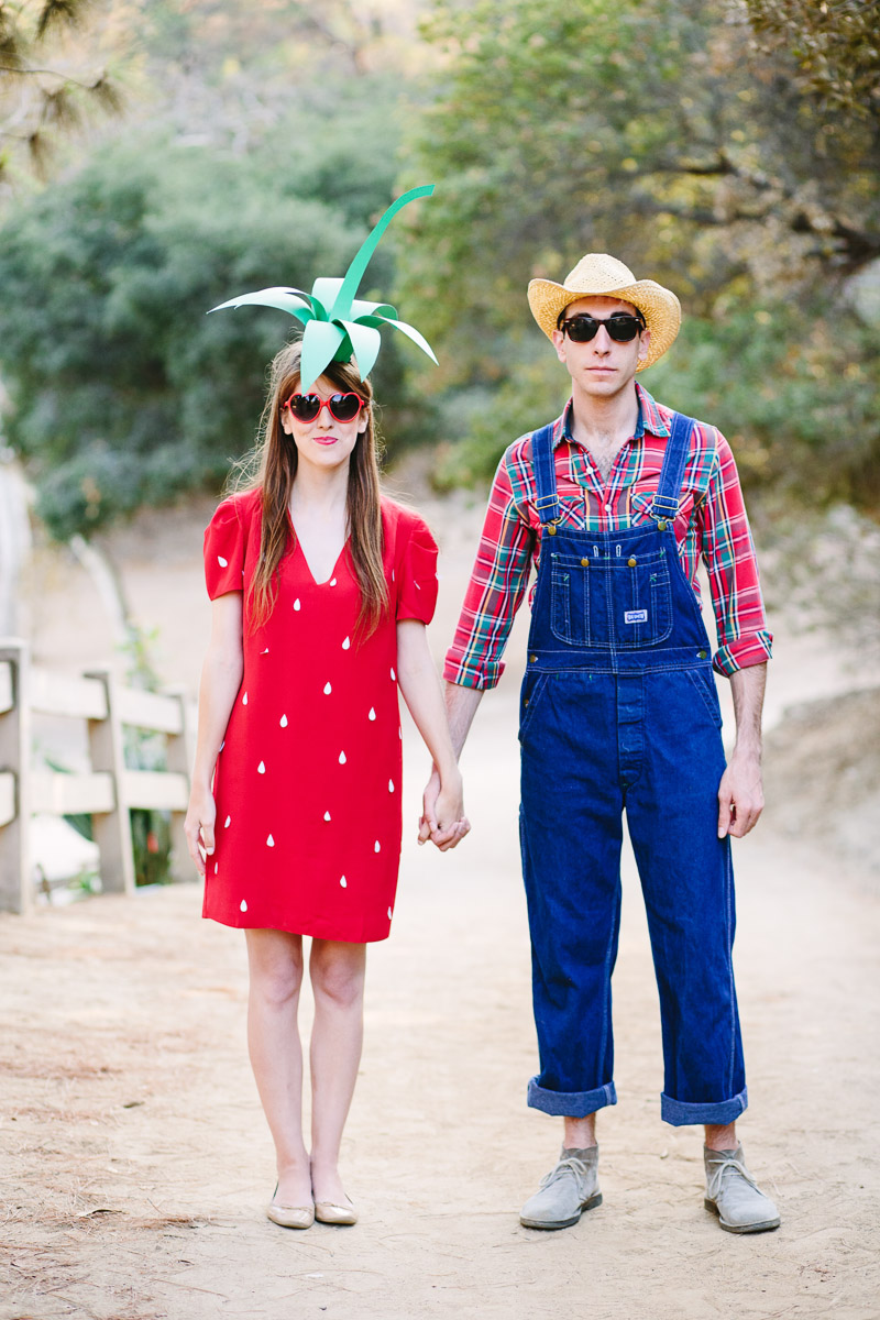 Diy strawberry and farmer halloween costumes