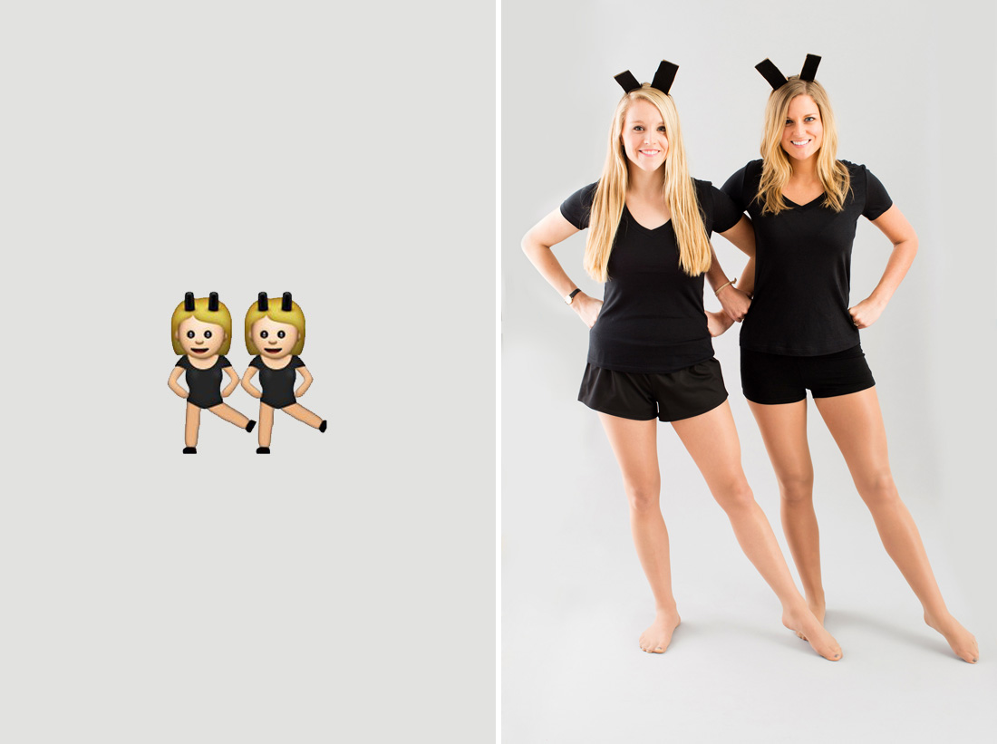 Emoji two girls halloween costume