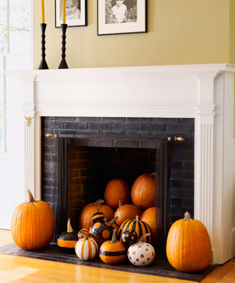 Fireplace pumpkin decor idea
