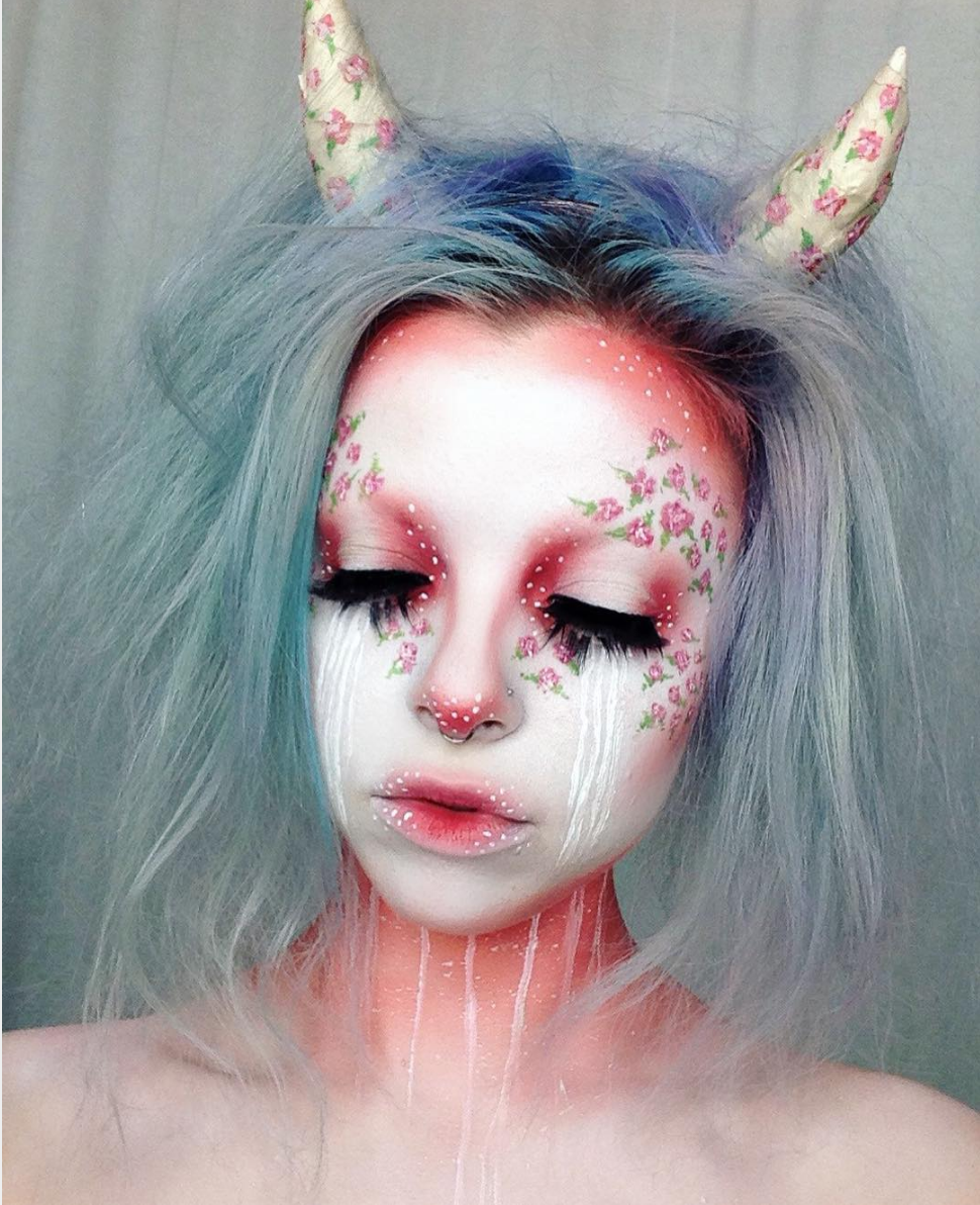 Floral horns halloween makeup