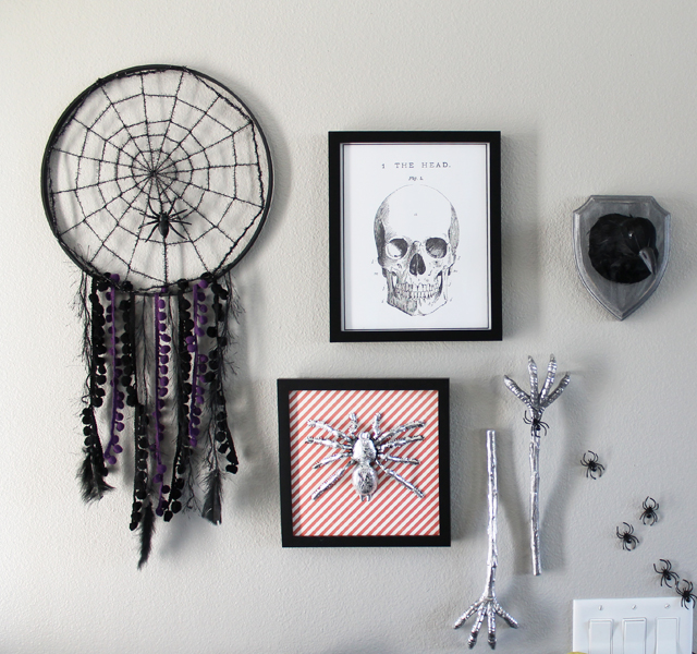 Gallery wall halloween party decor