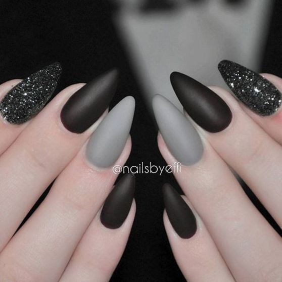Gray black halloween manicure