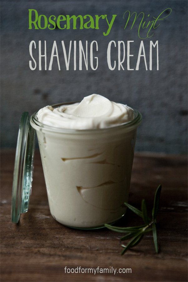 Homemade rosemary mint shaving cream top