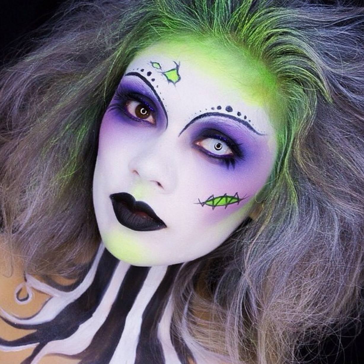 Lady beetlejuice halloween makeup