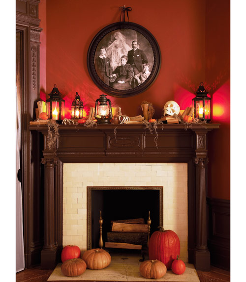 Lantern Fireplace Halloween Decor