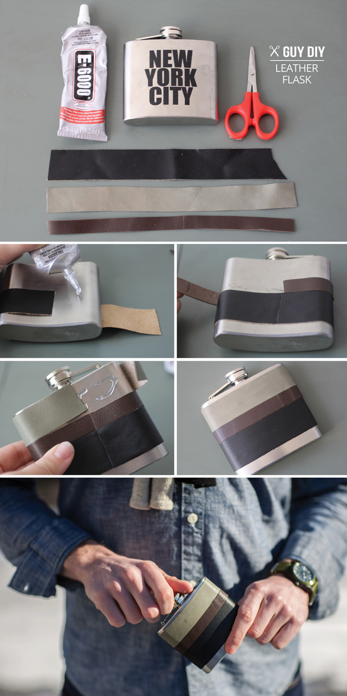 Leather warpped flask diy
