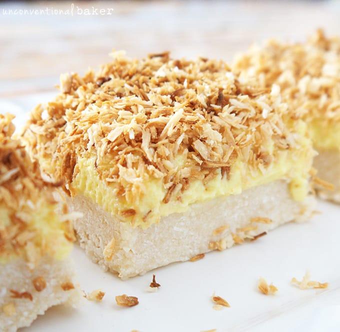 Lemon coconut squares gluten free vegan refined sugar free paleo