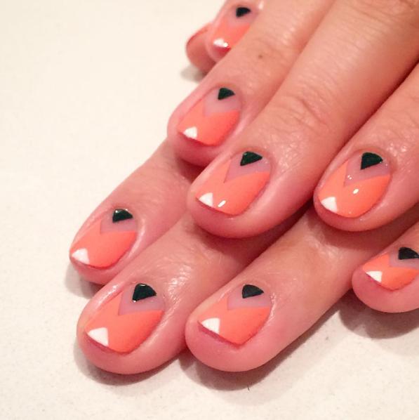 Modern halloween manicure geometric