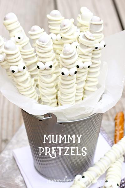 Mummy pretzels halloween treats