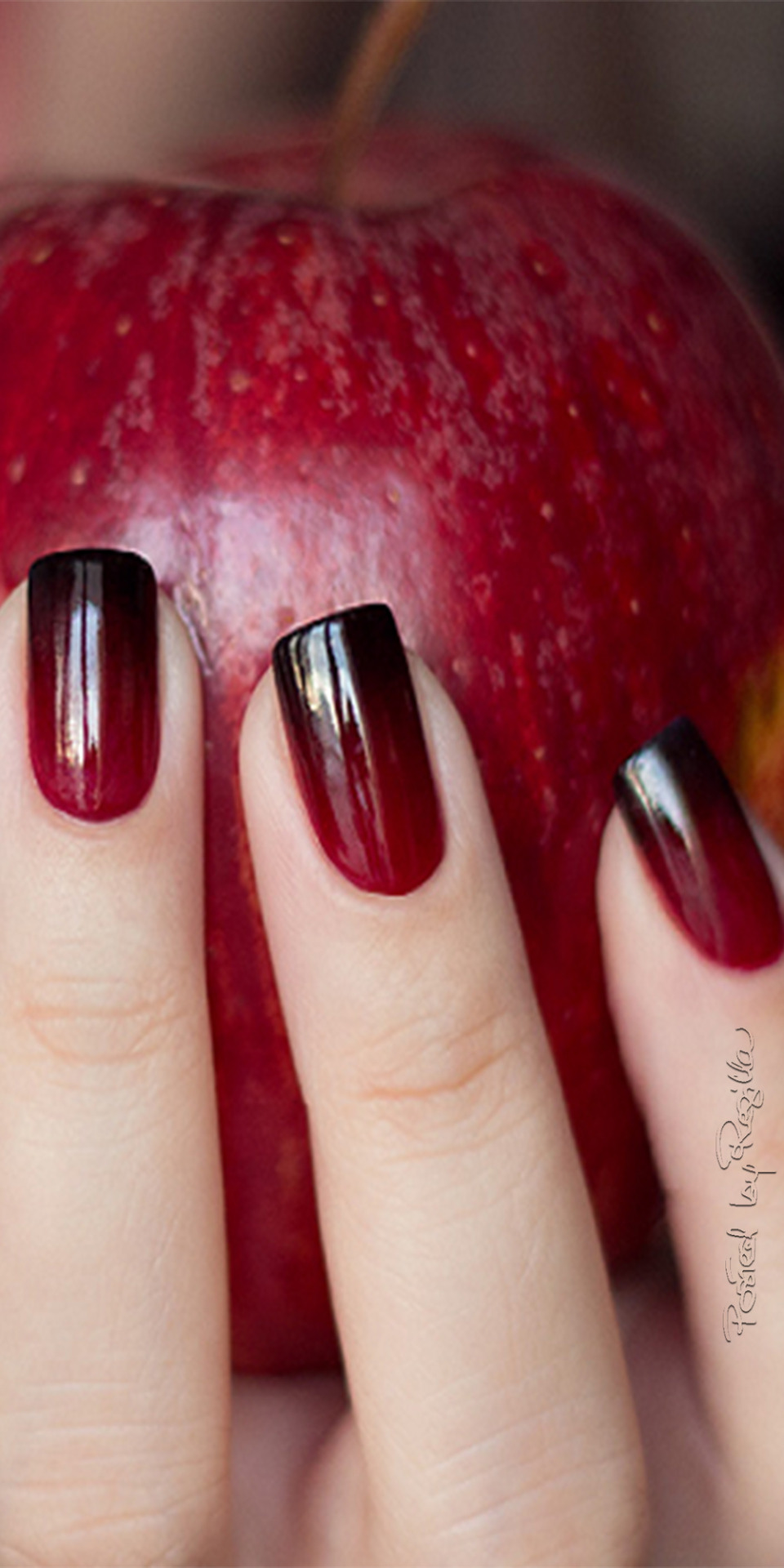 Ombre red apple manicure