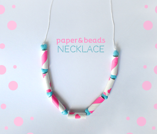 Paper straw and beads necklace