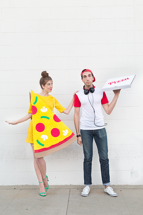 Pizza slice and delivery man costumes