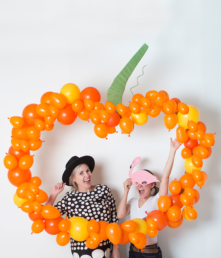 Playful pumpkin balloon backdrop