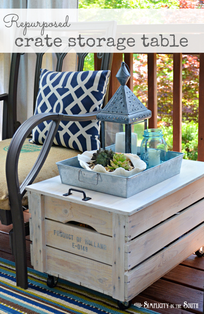 Repurposed crate storage side table