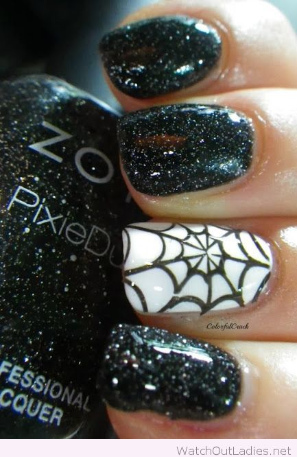 Sparkle black and white halloween nails