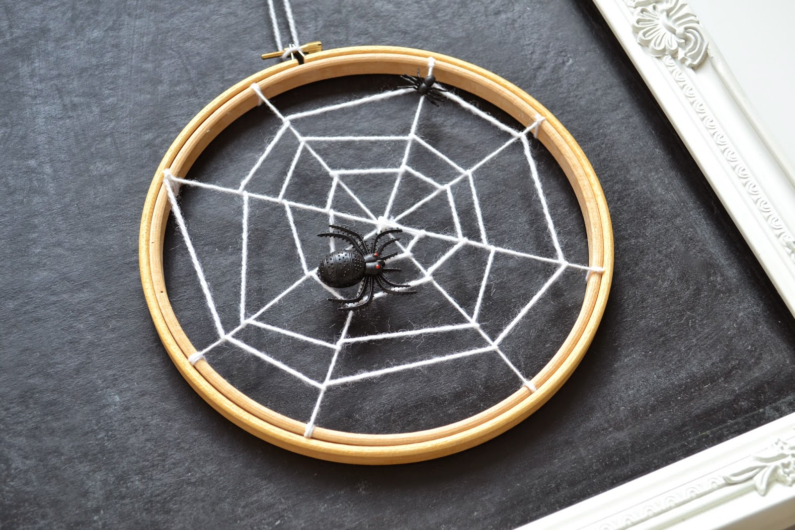 Spider web embroidery hoop halloween party decor