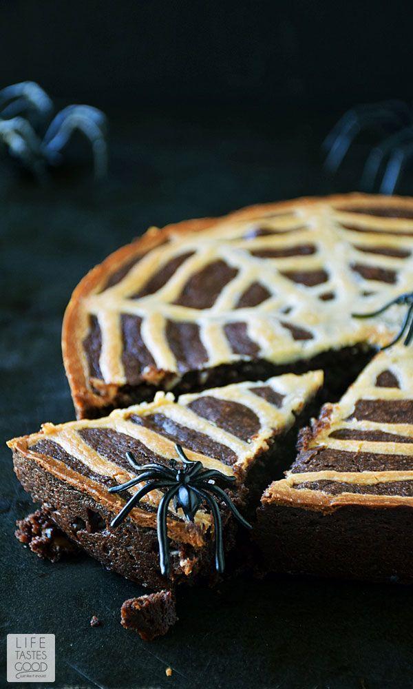 Spiderweb brownies halloween treats