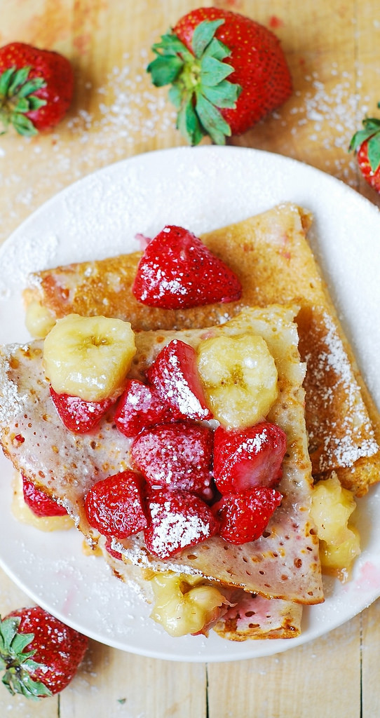 Strawberries bananas peanut butter filled crepes