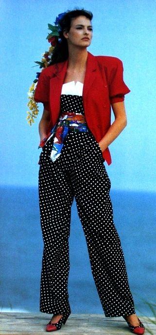 1980's polka dot pants suit idea