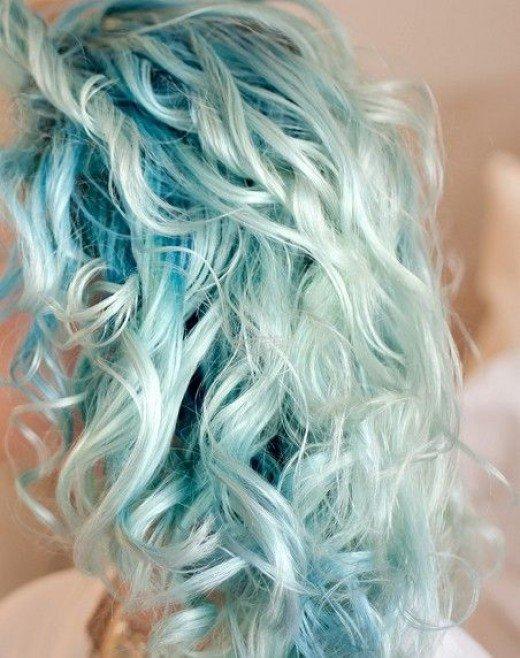 Baby blue long curls