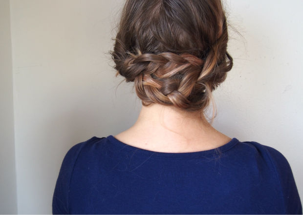 Backwards braid crown