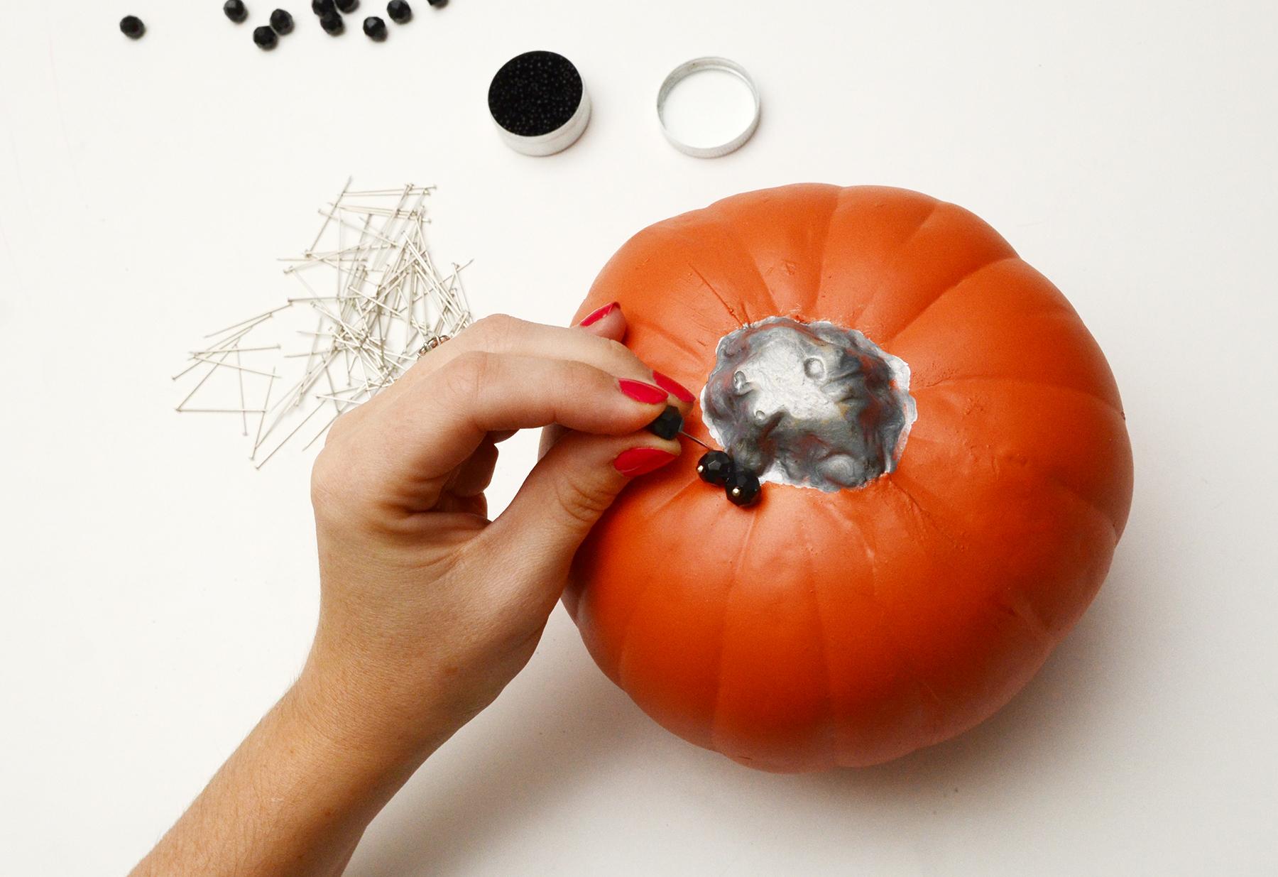 Beaded glam pumpkin step 3