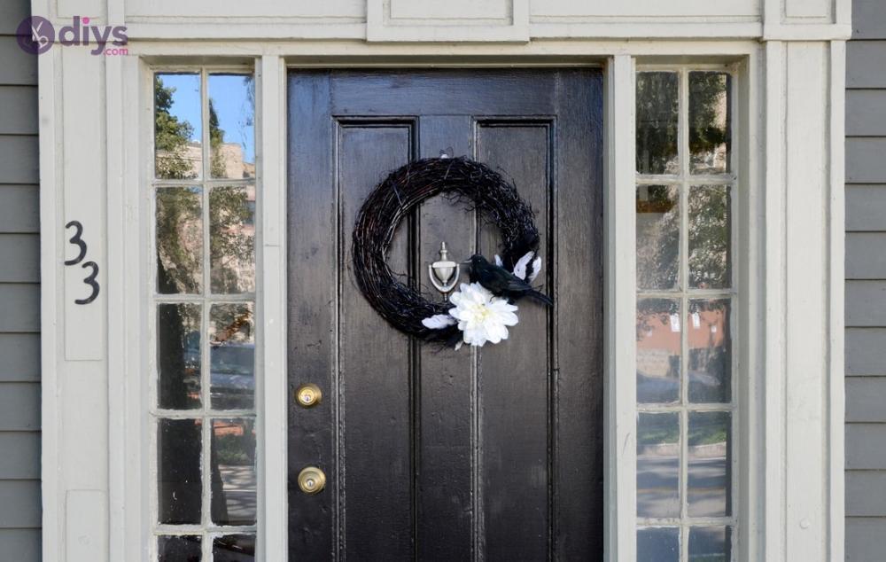 Black and white diy halloween door decorations
