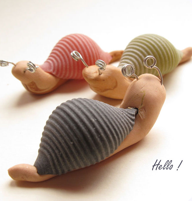 Clay and pasta snails