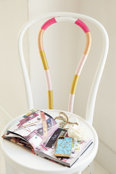 Colorful string chair diy