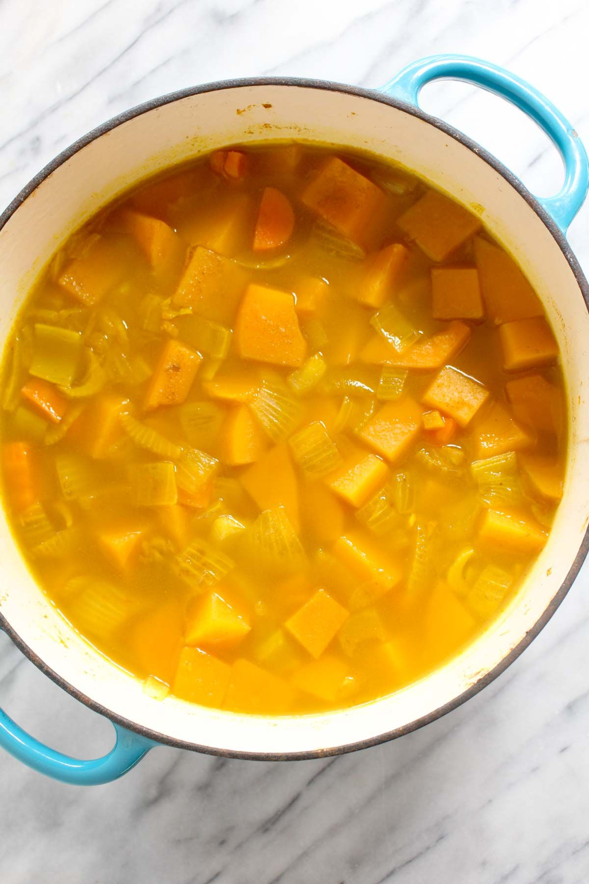Curry butternut squash soup simmer