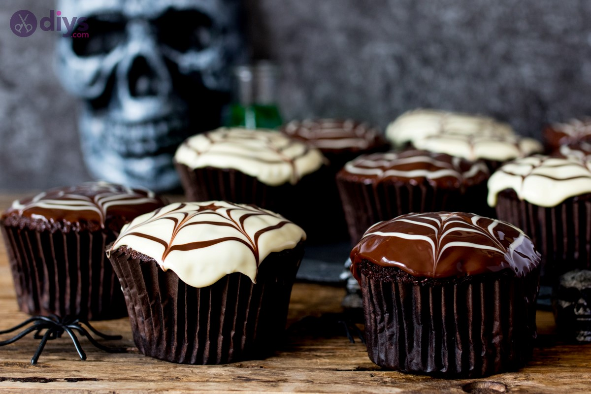 Cute halloween treats spider web cupcakes