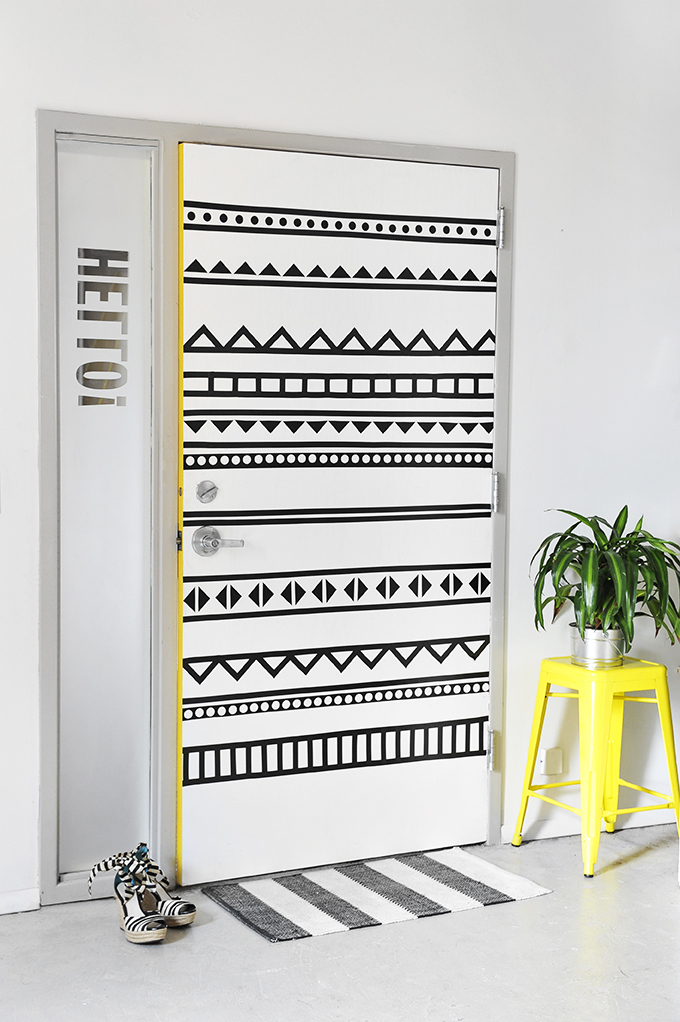 Diy black and white graphic door