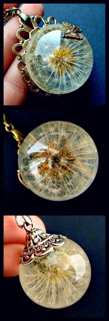Diy dandelion resin jewelry