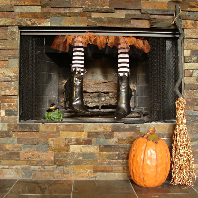 Halloween Witch Legs In the Fireplace