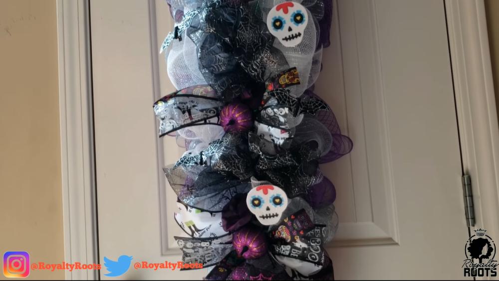 Diy glam halloween door swag