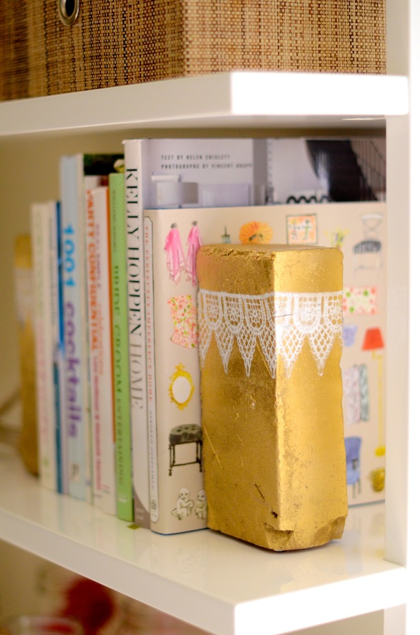 Diy golden brick bookends