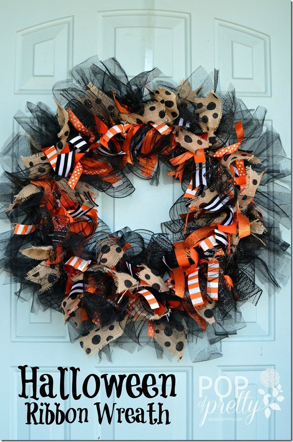 Diy halloween ribbon wreath