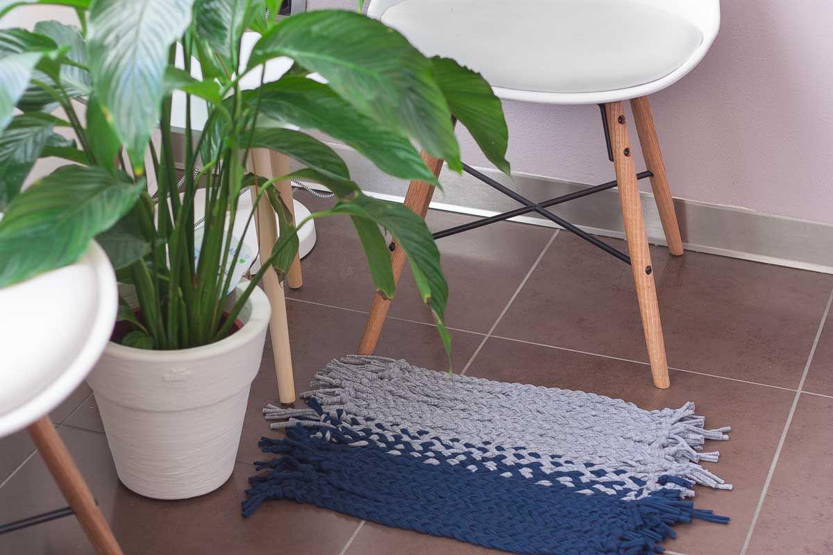 Diy no loom small mat blue and grey