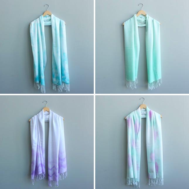 Diy ombre tie dye scarves