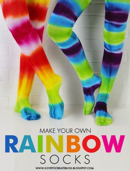 Diy rainbow socks
