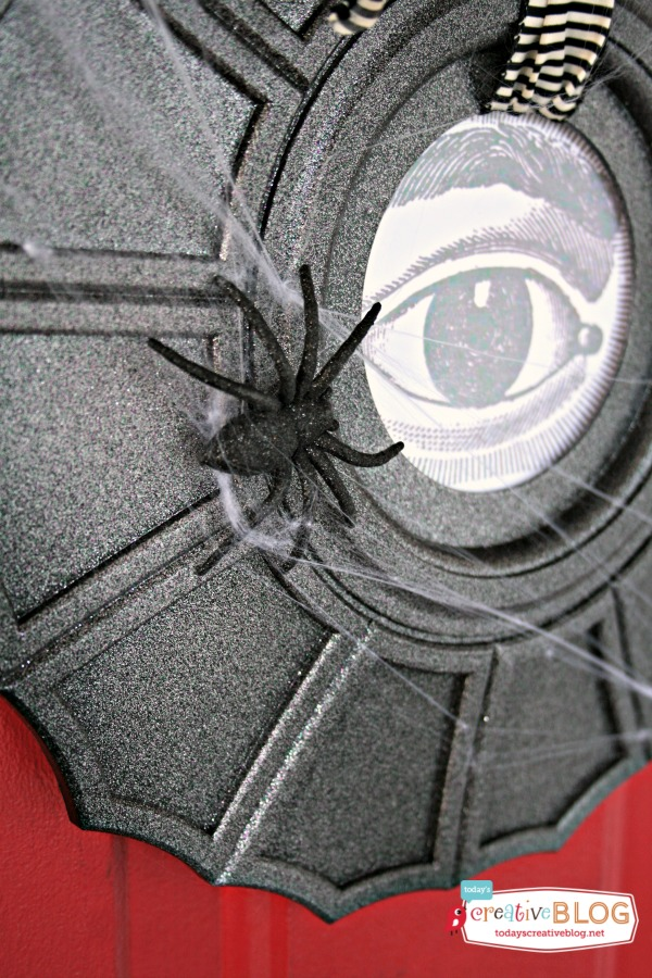 Diy spiderweb door decor
